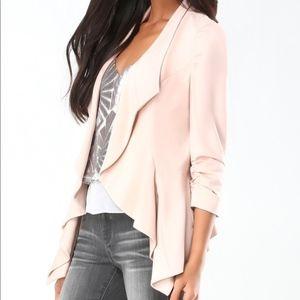 NWT ✨ Bebe Blush Pink Ponte Waterfall Work Jacket